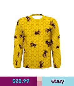 T-Shirts Yellow Pattern Of The Bee Sublimated Long Sleeve T-Shirt Men Size S-3Xl #ebay #Fashion