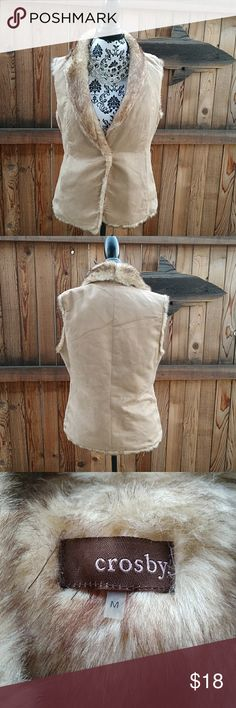 Crosby faux suede and fur vest Tan faux suede and fur fashion vest, single snap closure and pockets at hips. Please ask questions prior to purchase. Crosby Jackets & Coats Vests