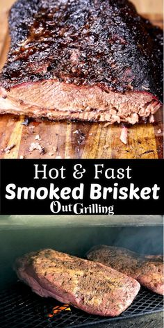 Hot and Fast Smoked Brisket is the way to go when you don't have hours and hours to devote to slow smoking a brisket. The brisket is cooked at a higher temperature for about 6 hours and yields, tender, delicious and flavorful brisket. Barbecue Recipes, Grilling Recipes, Meat Recipes, Low Carb Recipes, Dinner Recipes, Smoker Recipes, Cookout Menu, Slow Cooker Italian Beef, West African Food