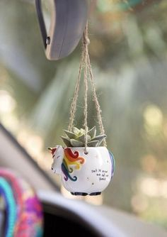 This Natural Life Unicorn Mini Hanging Faux Succulent features a pot with a faux succulent plant and a twine hanger. Shop now! Hanging Succulents, Faux Succulents, Cute Car Accessories, Hand Molding, Cactus Y Suculentas, Cute Cars, Colorful Garden, Kawaii, Natural Life