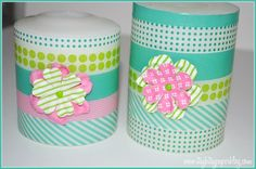wrap decorative tape around old candles