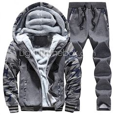 Masculino Tamanhos Grandes activewear Set Moda de Rua Retalhos Forro de Lã Algodão / Poliéster Micro-Elástico Manga Longa Outono / Inverno de 2017 por R$108.13