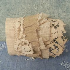 fabric wrist cuff from salvaged textiles prairie cottons and antique lace (Resurrection Rags) Tags: reconstructed indiefashion fashionaccessories textilejewelry lacecuffs softjewelry upcycledvintagetextile fabricwristcuffs