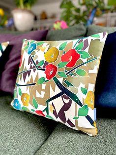 Artisan cushion accent pillow in colourful stylised modernist | Etsy Textile Design, Floral Design, Accent Pillows, Throw Pillows, Luxury Cushions, Vintage Kimono, Cotton Velvet, Japanese Kimono, Vintage Japanese