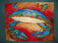 Plaster Blue Crab on canvas, painted with acrylics
