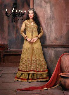 Capricious Beige Patch Border Work Net Designer Floor Length Salwar Suit