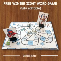 Grab this editable winter sight word game and use it in your classroom. Ideal for literacy center or word work in kindergarten or first grade. Kindergarten Sight Word Games, Kindergarten Freebies, Sight Word Activities, Literacy Activities, Literacy Centers, Winter Activities, Preschool Winter, Preschool Literacy, Word Work Games