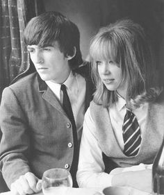 George Harrison and Pattie Boyd on the set of A Hard Day's Night