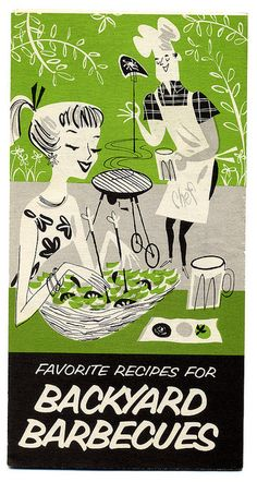 The delightfully illustrated cover of Favorite Recipes For Backyard Barbecues. Salsasdelamama.com