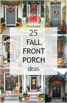 love all of these fabulous Fall Front Porch Ideas. I can't wait to decorate my porch!I love all of these fabulous Fall Front Porch Ideas. I can't wait to decorate my porch! Autumn Decorating, Porch Decorating, Decorating Ideas, Pumpkin Decorating, Fall Home Decor, Autumn Home, Seasonal Decor, Holiday Decor, Up House