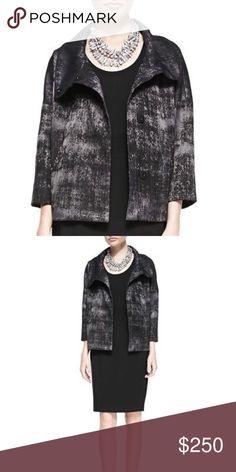 SALE❗️NWT Eileen Fisher  Jacquard High Collar NWT Eileen Fisher Charcoal Grandeur Jacquard High Collar Large Eileen Fisher Jackets & Coats