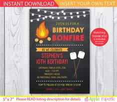 bonfire invitation / camp invitation / bonfire party invitations / smores invitation / bonfire birthday invitations / INSTANT DOWNLOAD by ApplePaperie