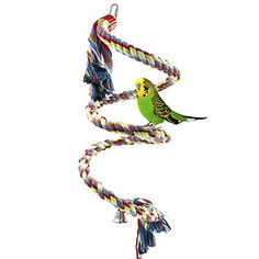 Rope Bungee Bird Toy, Rusee Small or Medium-Sized Parrot Toy Pure Natural Colorful Bead Cage Parrot Chewing Toy - http://www.bunnybits.org/rope-bungee-bird-toy-rusee-small-or-medium-sized-parrot-toy-pure-natural-colorful-bead-cage-parrot-chewing-toy/