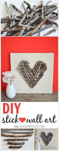 Valentine's Day Blog Hop: DIY stick heart wall art - Place Of My Taste