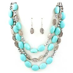 Turquoise Etched Lara Necklace | Emma Stine Jewelry Necklaces ($58) ❤ liked on Polyvore