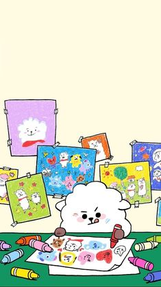 Bts Wallpaper, Iphone Wallpaper, Bts Drawings, Cute Animal Drawings, Bts Chibi, Line Friends, Cute Cartoon Wallpapers, Bts Video, Bts Lockscreen