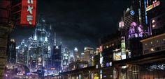 a / Digital matte painting , inspired in a futuristic japanese city Thekno City Ville Cyberpunk, Cyberpunk City, Futuristic City, Matte Painting, Blade Runner, Le Sniper, 3d Desktop Wallpaper, Design 3d, Nature
