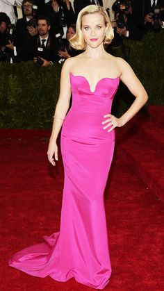 Love that fuschia color on her. 2014 Met Gala Red Carpet - Reese Witherspoon from #InStyle #metgala2014