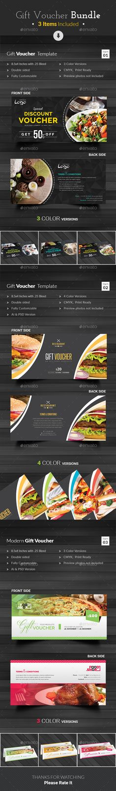 Buy Gift Voucher by themedevisers on GraphicRiver. This Gift Voucher Bundle is best suitable for promoting your business, product or services like beauty salon, spa cen. Gift Voucher Design, Gift Box Design, Print Templates, Design Templates, Discount Vouchers, Gift Vouchers, Best Gifts, Number Fonts, Loyalty Cards
