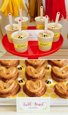 Winnie the Pooh Dessert Ideas - Honey Pudding Pots and Heart Palmiers with Bees . - Winnie the Pooh Dessert Ideas – Honey Pudding Pots and Heart Palmiers with Bees # - Winnie The Pooh Themes, Winnie The Pooh Birthday, Baby Birthday, Winnie The Pooh Pumpkin, Birthday Ideas, Baby Shower Desserts, Baby Shower Cupcakes, Shower Cakes, Baby Party