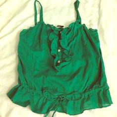 Old Navy Small Green Frilly Tank Top Cute! Old Navy cute green tank top, ties around waist and has 4 buttons to style as you'd like! Size small, gently worn and in great condition! Old Navy Tops Tank Tops