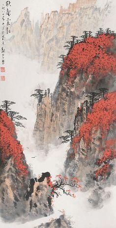 Wei Zixi(魏紫熙) , 1987年作 黄山松云