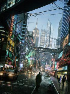 Cyberpunk Atmosphere, Cyber City, Raphael Lacoste Concept Art and Matte Painter