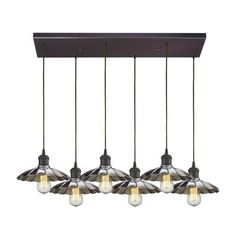 67042/6RC | Corrine 6 Light Pendant In Oil Rubbed Bronze And Chrome - 67042/6RC