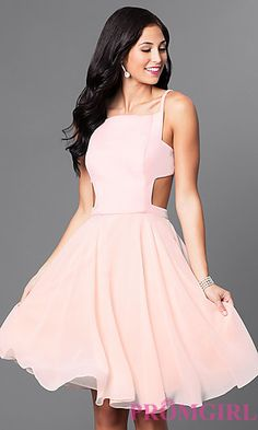 dd3536a67a Mock Two-Piece Knee-Length Blush Homecoming Dress Pink Semi Formal Dresses
