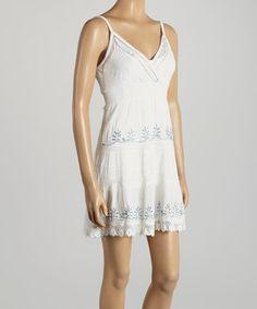 Love this White Embroidered Surplice Dress by Hadari on #zulily! #zulilyfinds