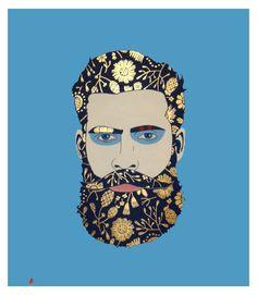 Beard Power – Acrylics and gold leaf on Linen Canvas – 80cm x 80cm – Vilela Valentin – copyright 2016