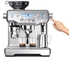 My parents have one it's amazing husband just ordered me one last night. Back to my barista days ☕️ Breville Oracle Espresso Machine, Silver Cappuccino Maker, Espresso Maker, Espresso Coffee, Best Coffee, Coffee Maker, Coffee Shops, Espresso Machine Reviews, Best Espresso Machine, Breville Espresso Machine