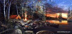 These campers sure did one great campsite. It's just out of the woods yet close enough to the lake! Another great tent camping and canoeing print from award winning artist Jim Hansel. Twilight Fire ha