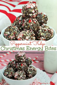 Christmas Energy Bites- Peppermint Fudge No Bake Energy Bites recipe. A Healthy Holiday Treat for Christmas that's easy and homemade for kids, snacks, adults or even for gifts. Clean eating desserts (gluten free too!) with dates, almonds and cocoa powder. Clean Eating, Gluten Free, Vegan, Vegetarian, Keto / Running in a Skirt #healthy #healthychristmas #christmas #peppermint #christmascookie