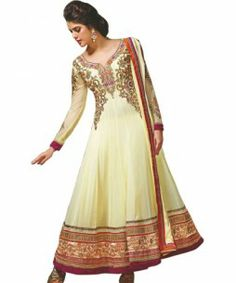DESIRABLE CREAM GEORGETTE SALWAR KAMEEZ MJDS9  Be the Style Icon with this lovely Desirable Cream Georgette Dress. Exciting Zari, Resham, Kundan & stone-work is done on the dress to increase the look.  This stunning attire is completed with a  salwar and a stylish Chiffon Dupatta.