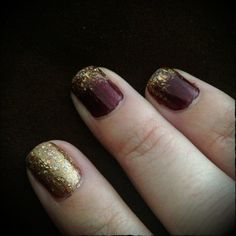 A Blog About Nothing : as told by Awesome Amy: Manicure Monday : Maroon and Gold
