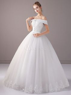 Princess Wedding Dresses Ball Gown Ivory Off The Shoulder Lace Buttons Tulle Floor Length Bridal Dress Disney Princess Dresses, Princess Wedding Dresses, Dream Wedding Dresses, Bridal Dresses, Wedding Gowns, Wedding Cakes, Ball Dresses, Ball Gowns, Wedding Dress Types