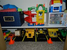 Desperate to find space for Max's construction vehicles I decided to increase some of the storage space in his close. I was inspired by s. Toy Room Storage, Truck Storage, Toddler Playroom, Toddler Rooms, Playroom Ideas, Truck Bedroom, Toy Organization, Organizing, Kid Closet