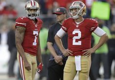San Francisco 49ers quarterback Colin Kaepernick (7) and quarterback Blaine Gabbert (2) warm up before an NFL football game against the Seattle Seahawks in Santa Clara, Calif., Thursday, Oct. 22, 2015. (AP Photo/Ben Margot)