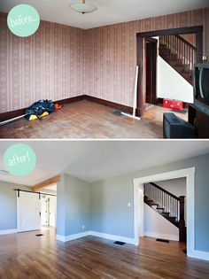 Before + After. Amazing what removing one wall and some paint can do. Loving that oversized sliding barn door too!
