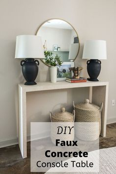 Create your own Concrete Console Table with boards and faux wallpaper. These tables cost over $1000 in the store. This DIY table is beautiful and cost me less than $10. Couch Table, Table And Chair Sets, Console Table, Furniture Projects, Home Furniture, Diy Projects, Concrete Table, Wood Table, Do It Yourself Furniture