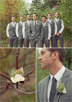 Grey vest for the guys    Let us help you plan all the details for your day! www.PerfectDayWeddingPlanners.com