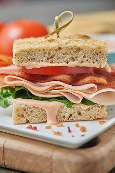 Panera Copycat Turkey Bravo Sandwich -  focaccia, turkey, bacon, gouda, and a special tangy sauce.