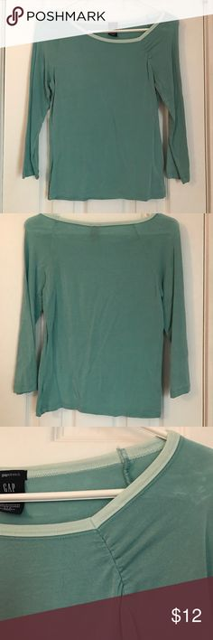 Gap Seafoam Green 3/4 Sleeve Top Gap Seafoam Green 3/4 Sleeve Top. Cute detail at neckline. Some discoloration on shoulders (shown in photo). Super soft and comfy. Gently worn. GAP Tops Tees - Long Sleeve