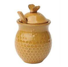 Honey Comb Jar with Wood Dipper
