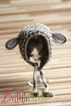Knit Crochet Baby Lamb Bonnet Hat Beanie in Gray by BellelaMere, $30.00