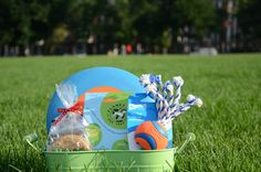 Create your own canine picnic basket like this one from The Ritz-Carlton, Boston Common using a rubber frisbee, rope chew toy, collapsible water bowl, and oatmeal dog treats.