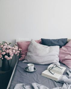 Navy pink bedroom check my other home decor ideas videos . Gray Bedroom, Bedroom Inspo, Bedroom Colors, Home Bedroom, Bedroom Decor, Blue And Pink Bedroom, Bedroom Flowers, Bedroom Ideas, Trendy Bedroom