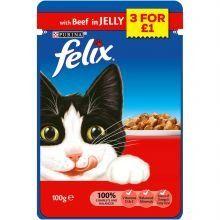 Felix Pouch Beef 3/£1, 100g x 20