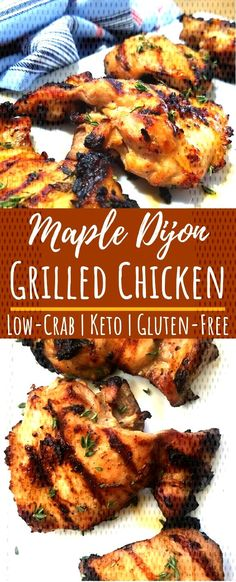 Grilled Keto Chicken Thighs with Maple DijonYou can find Keto chicken thigh recipes and more on our website.Grilled Keto Chicken Thighs with Maple Dijon Paleo Chicken Thighs, Keto Chicken Thigh Recipes, Grilled Chicken Thighs, Grilled Chicken Recipes, Low Carb Dinner Recipes, Healthy Diet Recipes, Keto Recipes, Baby Recipes, Healthy Dinners